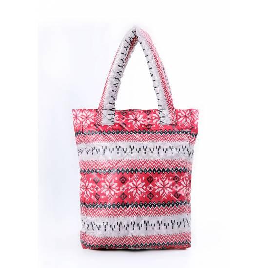 Дутая сумка красного цвета с северным узором