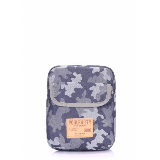 Мужская камуфляжная сумка синего цвета на плечо