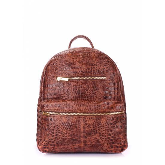 Кожаный женский рюкзак коричневого цвета