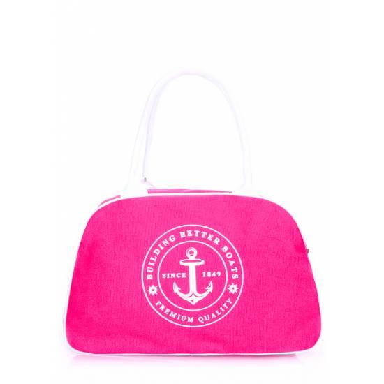 Коттоновая сумка-саквояж малинового цвета