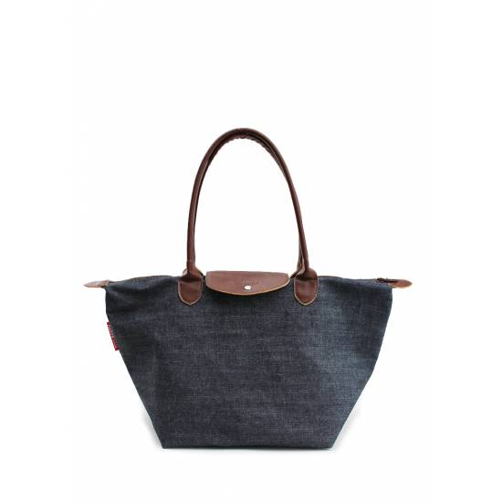 Джинсовая сумка синего цвета с клапаном