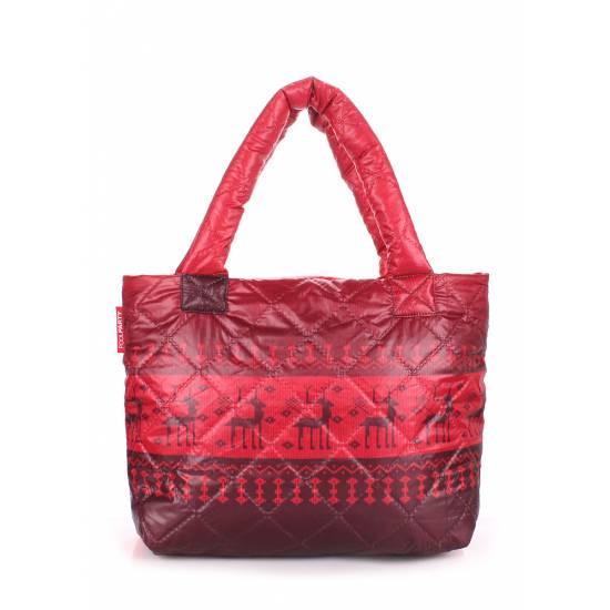 Дутая сумка красного цвета с оленями