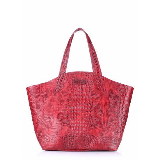Кожаная сумка красного цвета