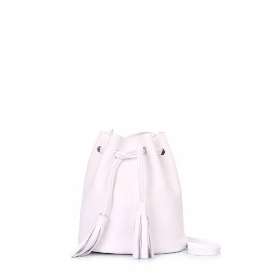 Кожаная сумочка белого цвета на завязках