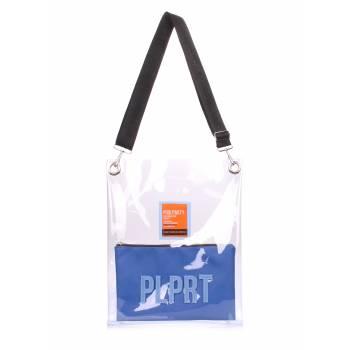 Прозрачная сумка синего цвета с ремнем на плечо