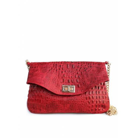 Кожаная сумочка-клатч красного цвета с цепочкой