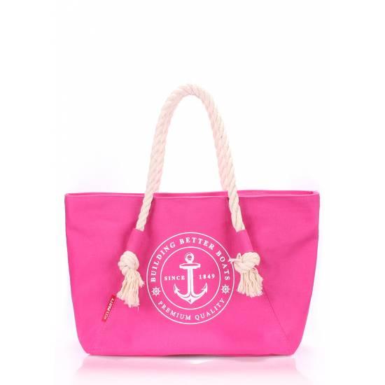 Коттоновая сумка малинового цвета с трендовым принтом
