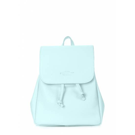 Кожаный рюкзак голубого цвета на завязках