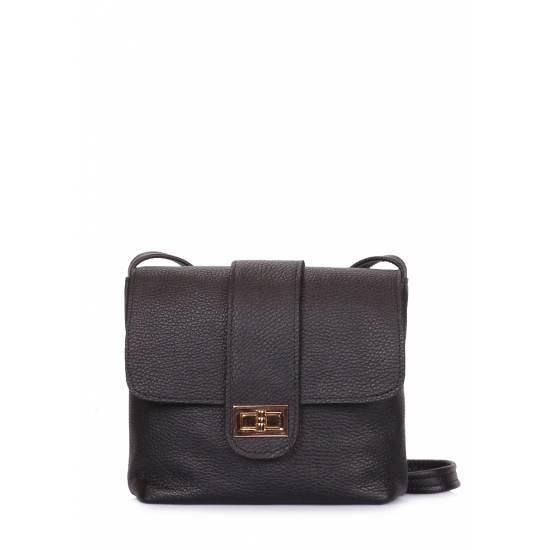 Кожаная сумка черного цвета на плечо