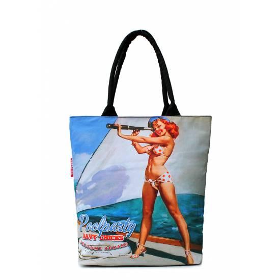 Коттоновая сумка голубого цвета с трендовым принтом