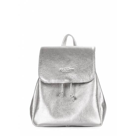 Кожаный рюкзак серебряного цвета на завязках