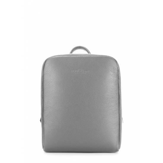 Кожаный женский рюкзак серого цвета