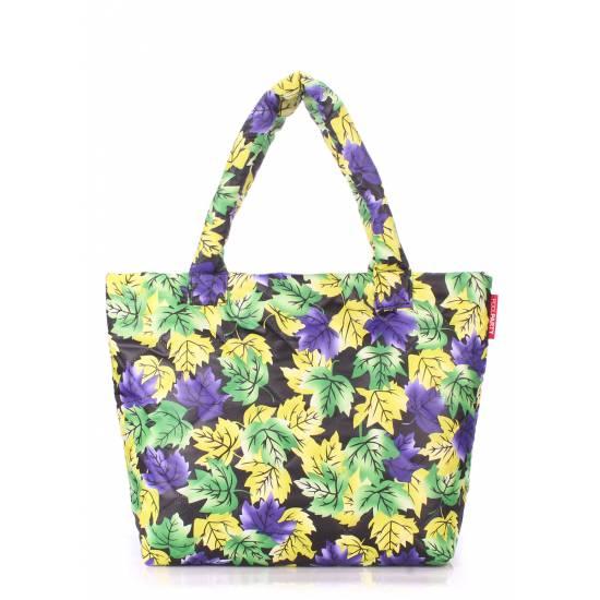 Дутая сумка желто-фиолетового цвета с принтом