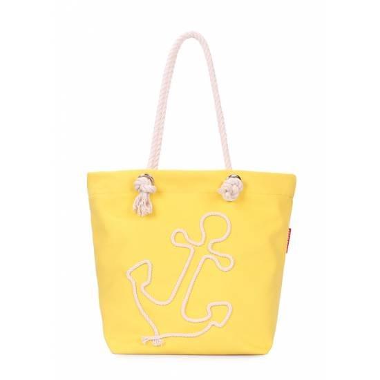 Летняя сумка желтого цвета с якорем
