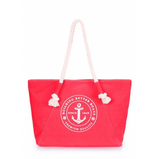 Красная сумка с морским принтом
