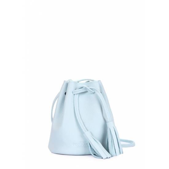Кожаная сумочка голубого цвета на завязках
