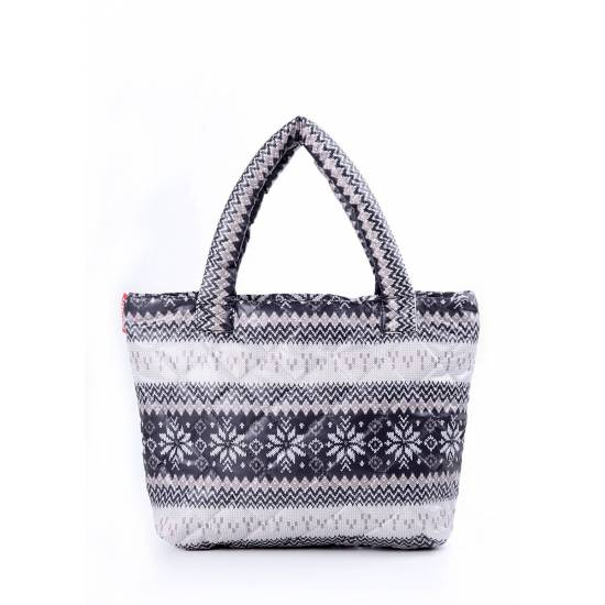 Дутая сумка серого цвета с северным узором