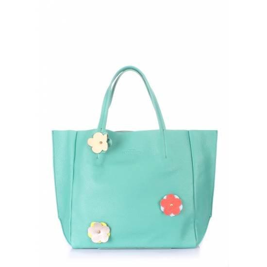 Кожаная сумка мятного цвета