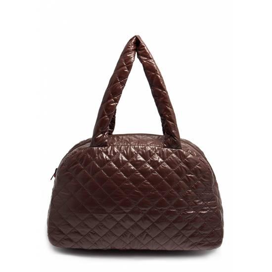 Стеганая сумка-саквояж коричневого цвета