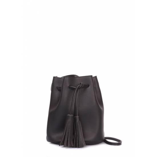 Женская сумка черного цвета на завязках