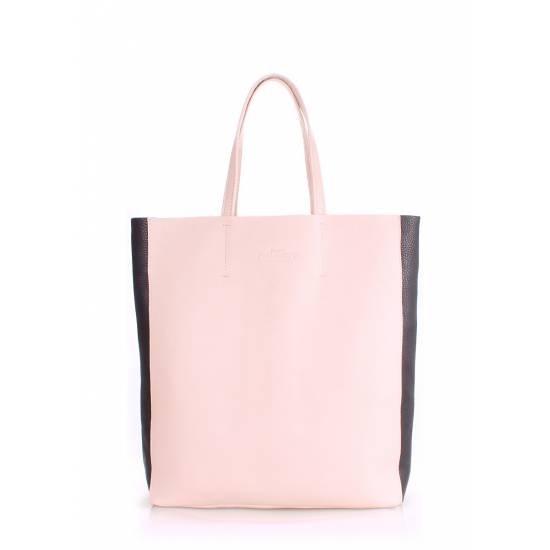 Кожаная сумка бежевого цвета