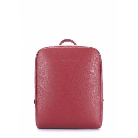 Кожаный женский рюкзак бордового цвета