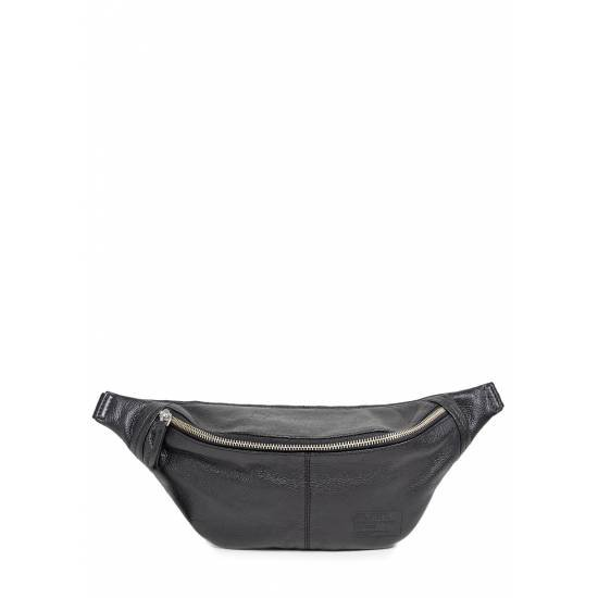 Кожаная сумка-бананка черного цвета