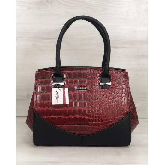 Каркасная женская сумка черного цвета со вставками красного цвета