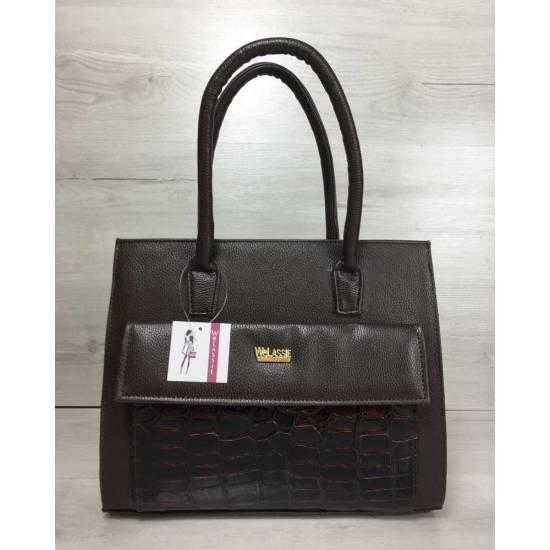 Каркасная женская сумка коричневого цвета с накладным карманом