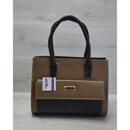 Каркасная женская сумка кофейно-черного цвета с накладным карманом