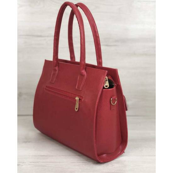 Каркасная женская сумка красного цвета с накладным карманом