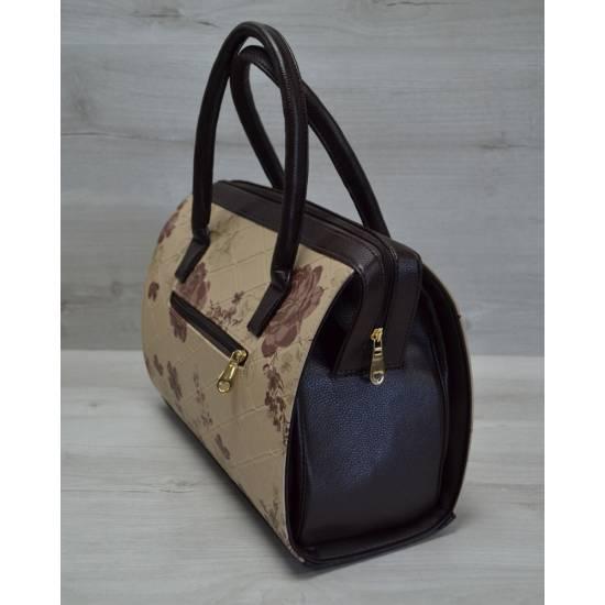 Каркасная женская сумка бежевые цветы с коричневыми ручками