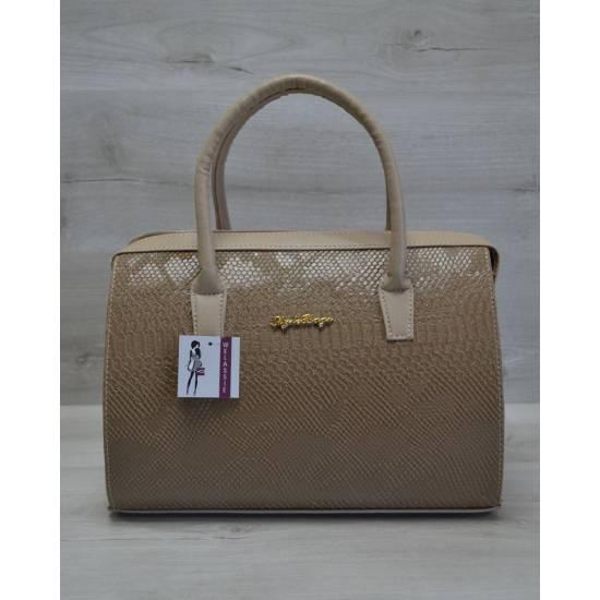 Каркасная женская сумка кофейного цвета с кофейными ручками