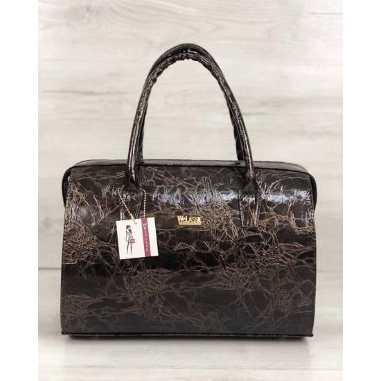 Каркасная женская сумка коричнево-мраморного цвета
