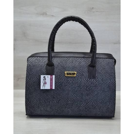 Каркасная женская сумка серого цвета с черными ручками
