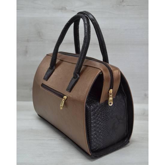 Каркасная женская сумка бронзового цвета с коричневыми ручками