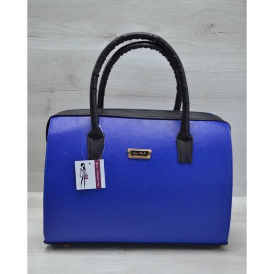 Каркасная женская сумка цвета электрик с черными ручками