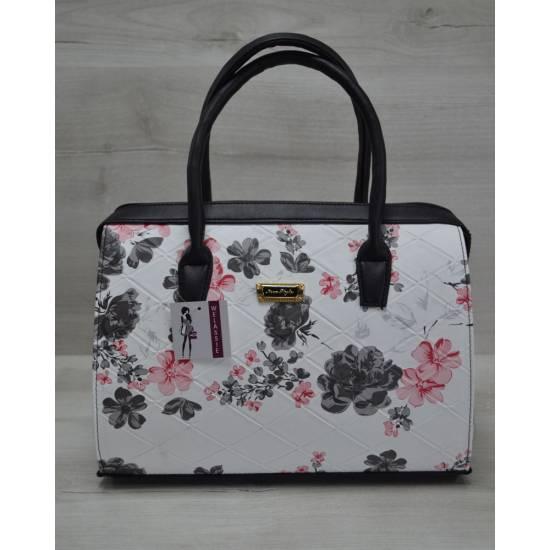 Каркасная женская сумка черные цветы с черными ручками