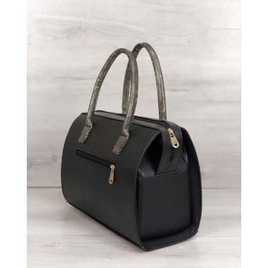 Каркасная женская сумка черного цвета