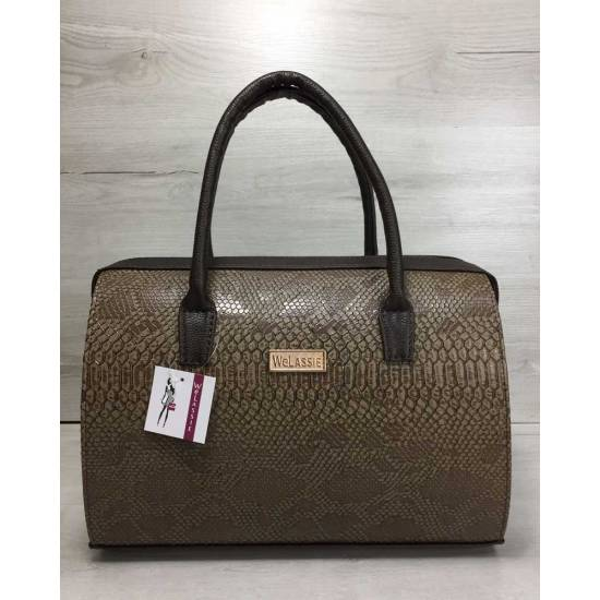 Каркасная женская сумка кофейного цвета