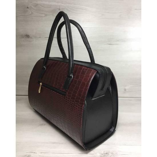 Каркасная женская сумка бордового цвета с черными ручками