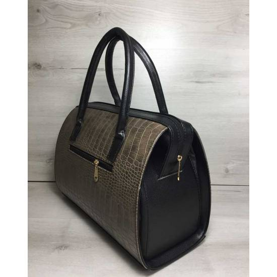 Каркасная женская сумка кофейного цвета с ручками черного цвета
