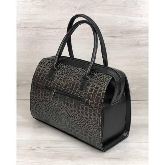Каркасная женская сумка серого цвета покрытая лаком