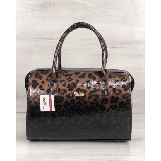 Каркасная женская сумка леопардовой расцветки покрытая лаком