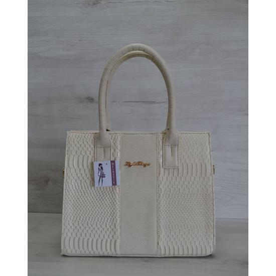 Каркасная женская сумка бежевого цвета