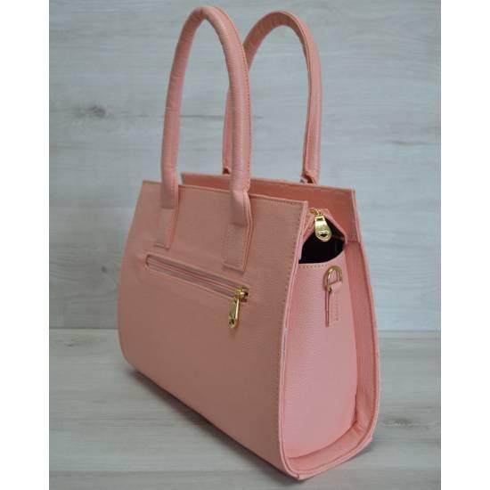 Каркасная женская сумка пудрового цвета