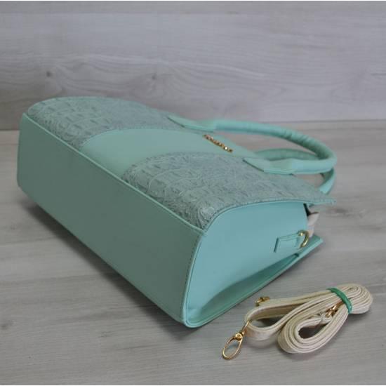 Каркасная женская сумка ментолового цвета