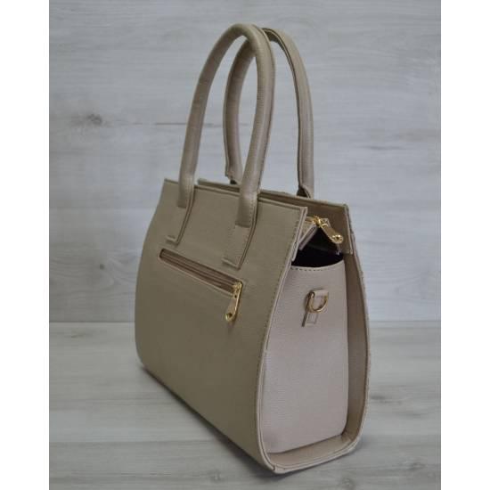 Каркасная женская сумка темно-бежевого цвета
