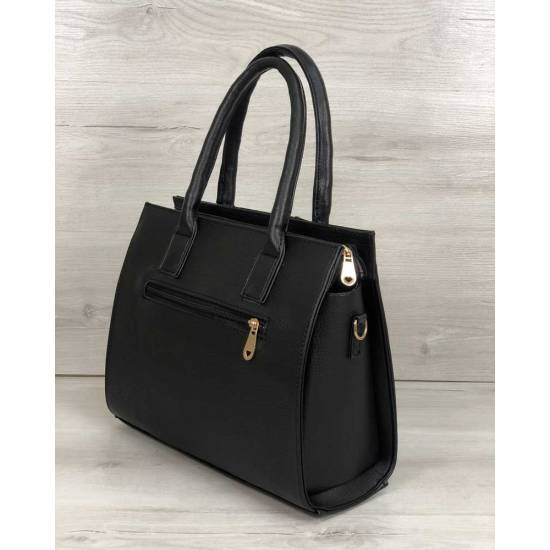 Каркасная женская сумка черного цвета со вставкой черный замш