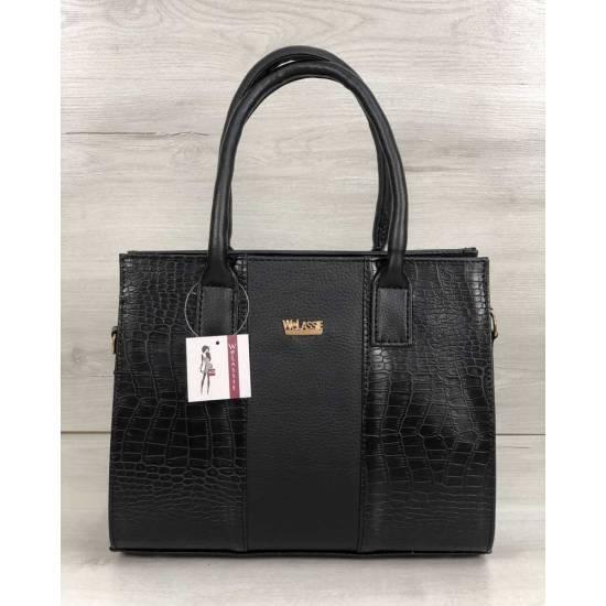 Каркасная женская сумка черного цвета со вставками черного цвета
